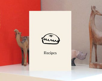 Recipes Design Print Letterpress Notebook - A5 - Bespoke Stationery, Unique Cover in Ivory or White Card, or Kraft Board