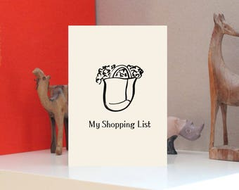 Shopping List Design Print Letterpress Notebook - A5 - Bespoke Stationery, Unique Cover in Ivory or White Card, or Kraft Board