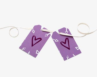 Valentine's Day Gift Tags - Set of 2 - Bespoke Design for Birthdays, Special Occasions, Scrapbooking, Heart, Love, Valentine