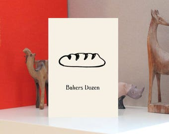 Bakers Dozen Recipe Design Print Letterpress Notebook - A5 - Bespoke Stationery, Unique Cover in Ivory or White Card, or Kraft Board