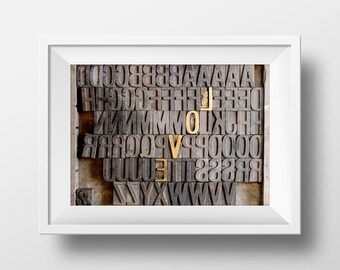 Love Letterpress Artwork Digital Print - Gold Letters Typography - Perfect for Valentines Day Anniversary Engagement Wedding Birthday