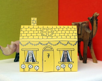 Yellow 3D House Card - New Home Address, Moving House, Birthday Party, Just Married, Special Occasion