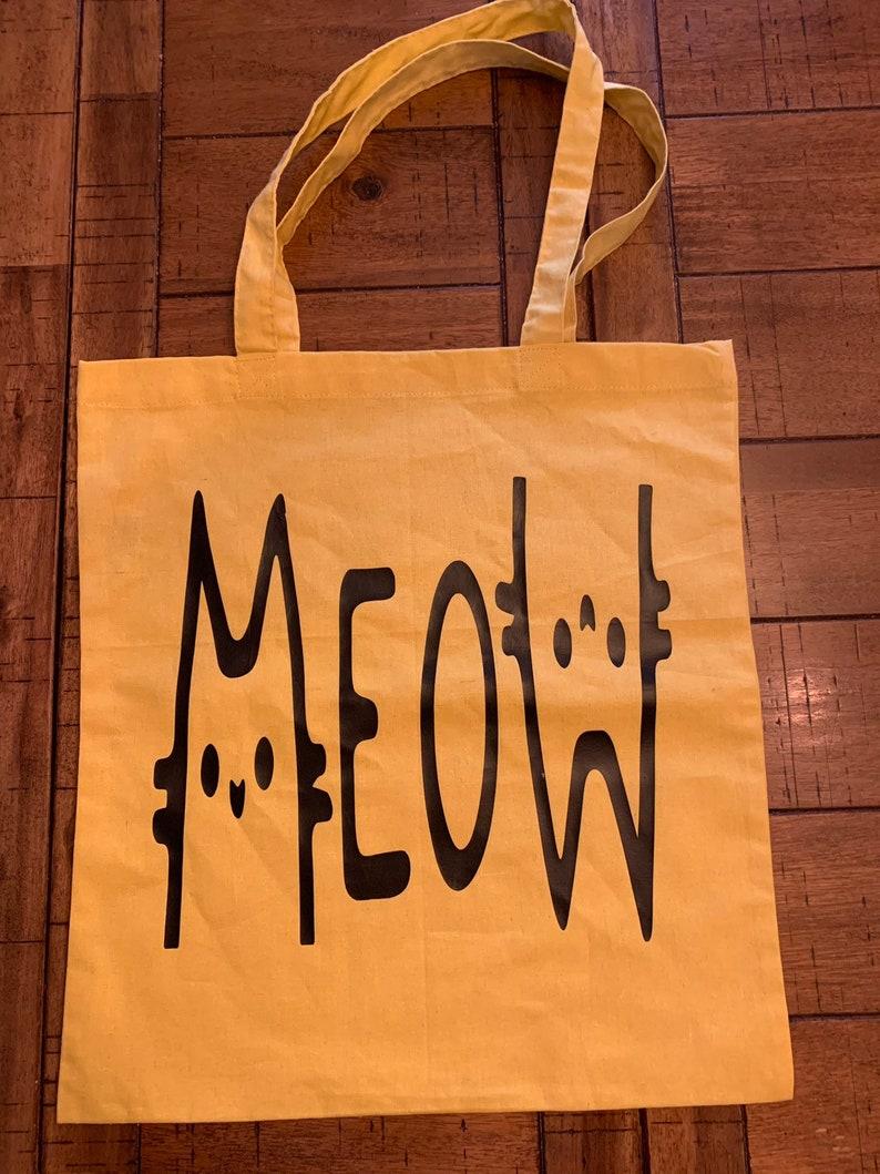 100/% cotton tote Meow canvas tote reusable shopping bag