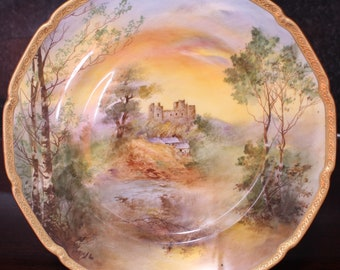 "Royal Doulton Hand Painted 10.25"" Cabinet Plate, Harlech Castle by Charles Hart"