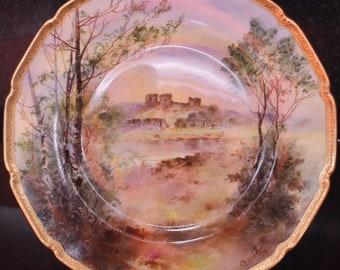 "Royal Doulton Hand Painted 10.25"" Cabinet Plate, Rhuddlan Castle by Charles Hart"