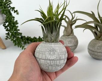 Small Concrete Death Star AIR PLANT holder, air plant gift , planter pot, geek gift, concrete decor, housewarming gift, sci-fi gift