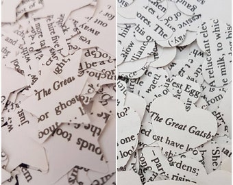 The Great Gatsby Book Page Wedding Table Confetti Decoration Hearts and Stars/Art Deco Roaring 20s Jazz Flapper Cocktail Party Decorations