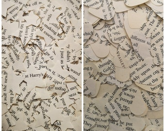 Harry Potter Book Page Wedding Table Confetti Decorations Hearts and Stars/Magic Wizard Party Supplies/Geeky Literature Fandom Scatter Decor