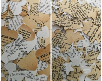 Works of Shakespeare Page Wedding Table Confetti Decoration Hearts and Stars/Elizabethan Theatrical Decorations/Dramatic Poet Thespian Decor