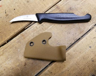 Pikal Knife Victorinox 2.5-inch Bird's Beak Paring / Fruit Knife with finger notch and *Coyote Brown* pocket-hook KYDEX SHEATH