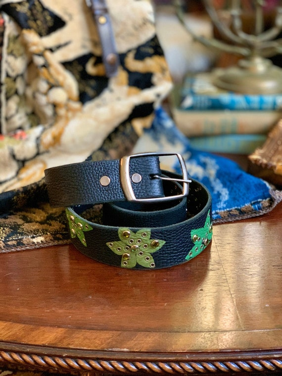 Black Leather Green Floral Rhinestone Grommet Belt