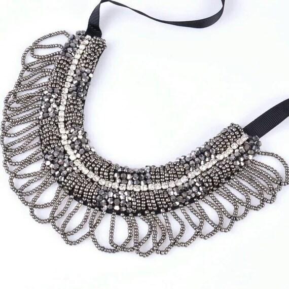 Sparkly dark silver necklace