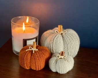 Pre-order listing for hand knitted pumpkin set
