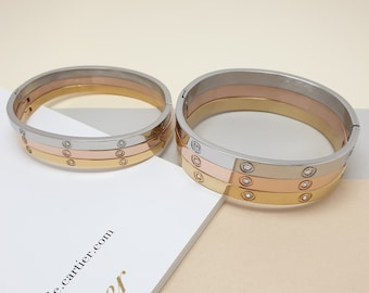 Simple Band Screw Love Bangle Bracelet Gold Rose gold Silver Cuffs Lovers  Bracelets Design dc9a2e120af