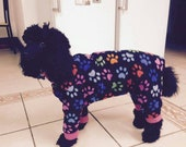 Dog Jammies made bespoke, for all small breeds in polar fleece up to 18 inches in length maximum. Free UK postage, worldwide three pounds