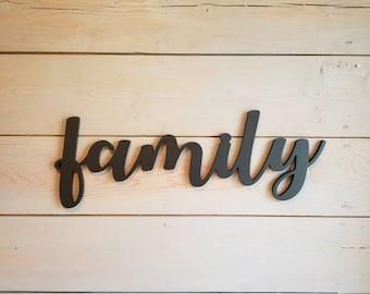 Wood Family Sign, Large Wood Family Sign, Family Cutout, Modern Farmhouse Wall Decor