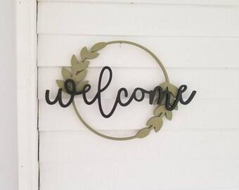 Welcome Door Sign, Welcome Door Hanger, Welcome Sign, Wood Welcome Sign, Hello Sign, Front Porch Sign, Farmhouse Decor, Word Art, Door Sign