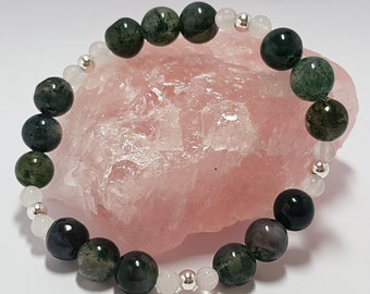 Moss agate, white agate with sterling silver gemstone bracelet