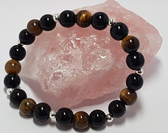 Black onyx, tigers eye and sterling silver gemstone bracelet for anxiety