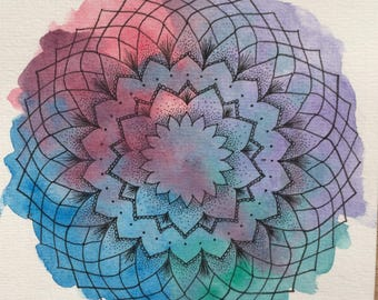 Geometric Rainbow Original Watercolour Mandala Painting