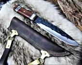 Medieval Work knife Celts Viking Hardwood Leather Sheath Sax Style MAQ1701
