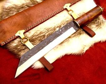 Medieval Work Knife Celts VikingHardwood Leather Sheath Sax Style MAQ1716