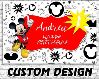 Mickey Mouse Banner Birthday ,Banner Mickey Mouse ,Personalized Banner, Custom Name Banner ,Mickey Mouse Party Banner