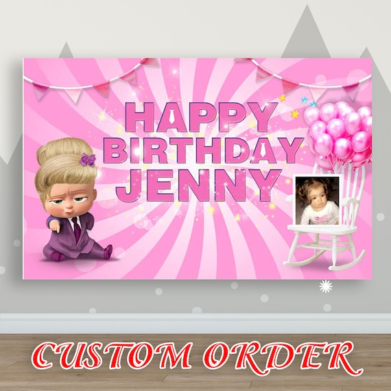 Personalized Boss Baby Girl Backdrop Pink Suit Custom Photo Birthday Party Banner
