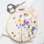 Blue Wildflower & Daisy Embroidery Hoop | Wall Art | Home Decor | Floral Embroidery