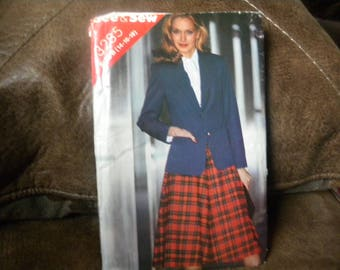 McCalls 3285 80s pattern, Vintage, Jacket and Skirt, Sizes 14-16-18