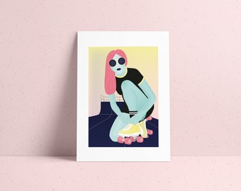 Numbered cosmic poster illustration of a Martian girl on skate