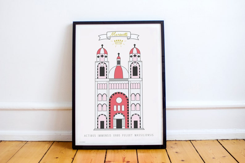 Pink poster of Marseille Saint Mary major  the city Crest & image 0