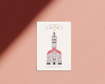 Lille poster minimalist pink illustration of the old stock exchange