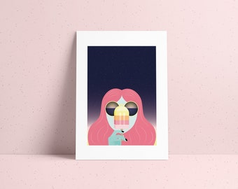 Cosmic poster numbered illustration girl with an ice cream