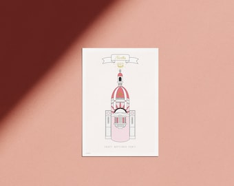 Nantes minimalist poster pink illustration of the Unique Place city of Nantes