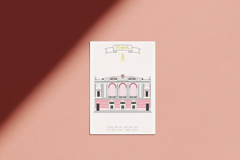 Pink poster of Montpellier-motto & Blazon of the city image 0