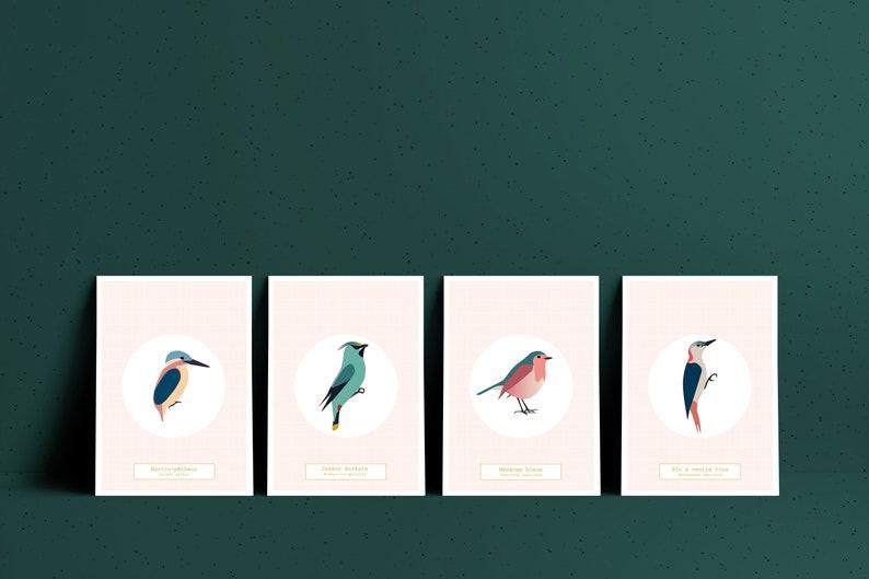 La chambre aux oiseaux  4 cartes rose  4 Affiches A5 à image 0