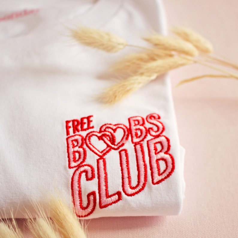 Free Boobs Club embroidered T-shirt organic cotton image 1