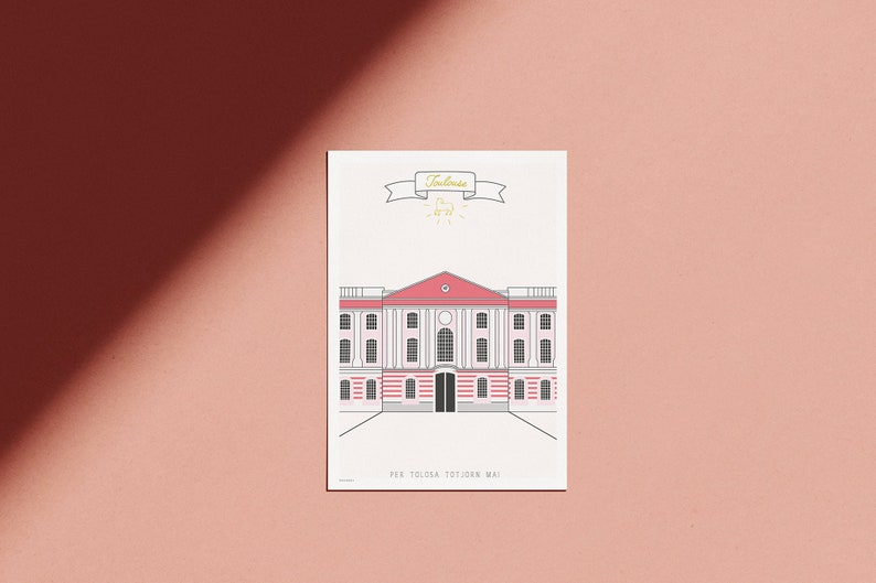 Pink poster of Toulouse-motto & Blazon of the city image 0