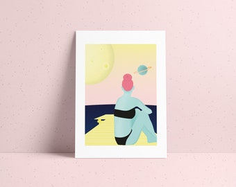 Numbered cosmic poster illustration of a dreamy Martian girl