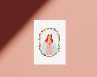 Poster Frida Kahlo flowery kitsch illustration of the Virgin