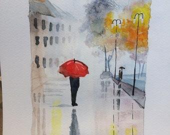 Misty landscape watercolor