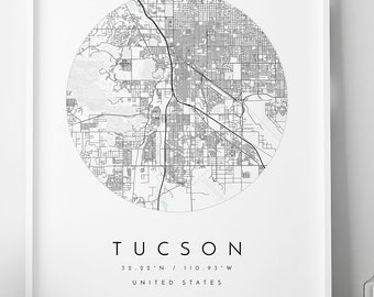 graphic relating to Printable Map of Tucson Az named Tucson arizona map Etsy