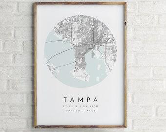 Tampa City Map, Tampa Print, Tampa Poster, Tampa map, Map of Tampa, map poster Tampa, Tampa town map, Tampa wall art, Tampa Florida City Map