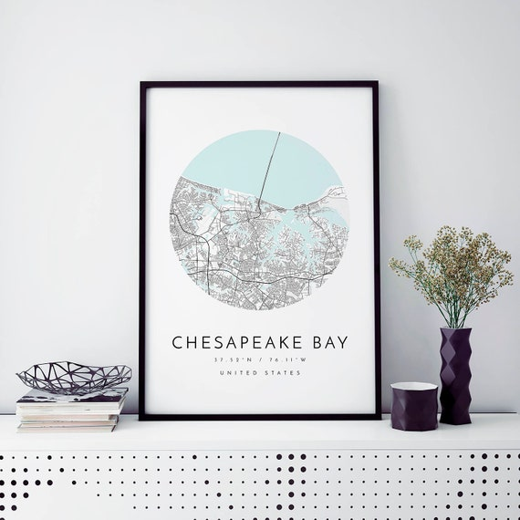 Chesapeake Bay Map, Chesapeake Bay Map, Minimalist Map, Chesapeake Bay Print, Chesapeake Bay Poster, Chesapeake Bay Art, Modern Map Print, by Etsy