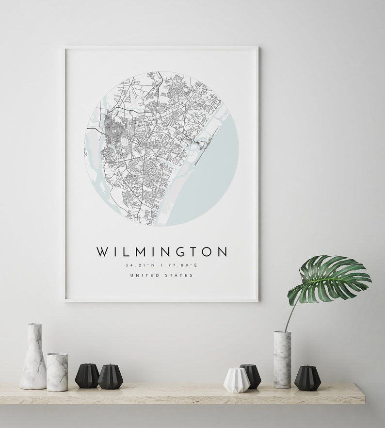 Wilmington Map Wilmington Print Home Town Map Minimalist Map Art Gift Map City Map Wilmington Map Poster North Carolina