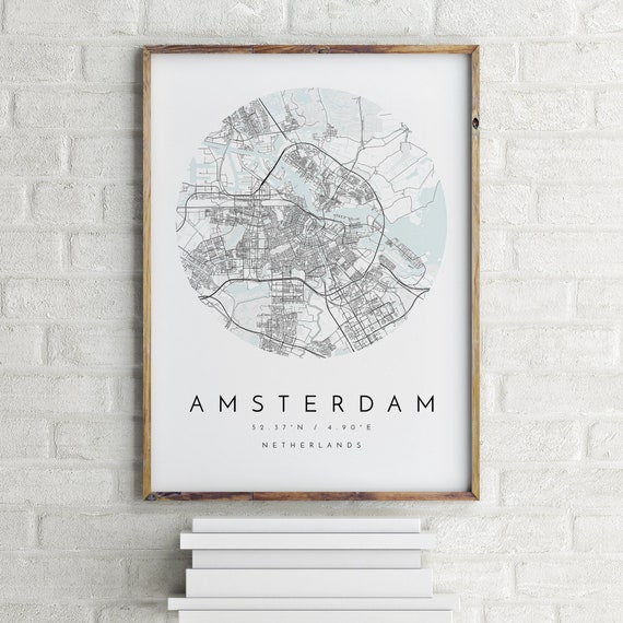 Amsterdam Map, Minimalist Map, Amsterdam Print, Amsterdam Poster, Amsterdam  Art, Modern Map Print, Map of Amsterdam, Amsterdam City Map Art