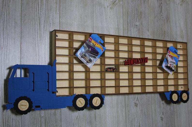 Hot Wheels Boys Wood Truck Display Case Toy Matchbox Storage Playroom Wooden Shelf Rack Gift Wall Decor Bedroom Room Kids