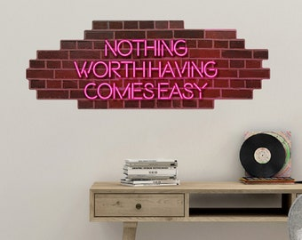 Your Custom Text Neon Sign Brick Wall Decal Pink Faux Neon Lights Removable Wallpaper Bricks Block Wall Sticker Gym Dorm Apartment Rental