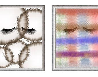 Eye lashes. Two PDF Files with different looks. Wall art download. Printable wall art.